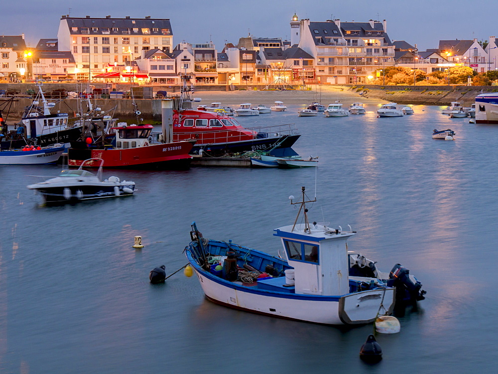Quiberon port at dusk, Morbihan, Brittany, France, Europe - 367-6216