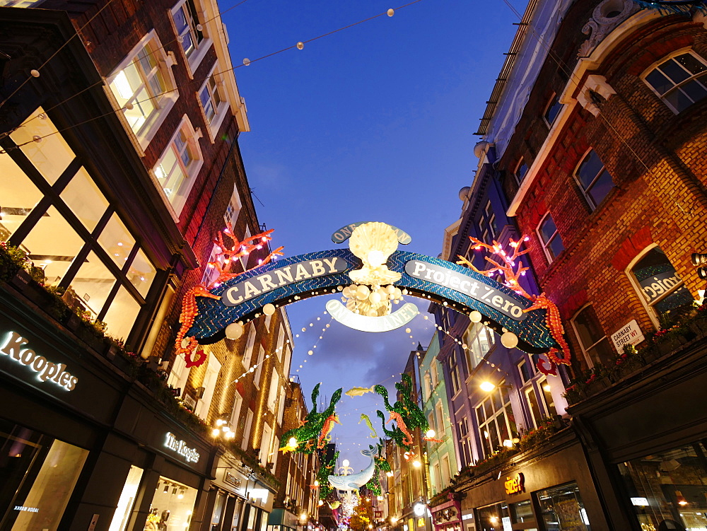 Christmas lights, Carnaby Street at dusk, London, England, United Kingdom, Europe