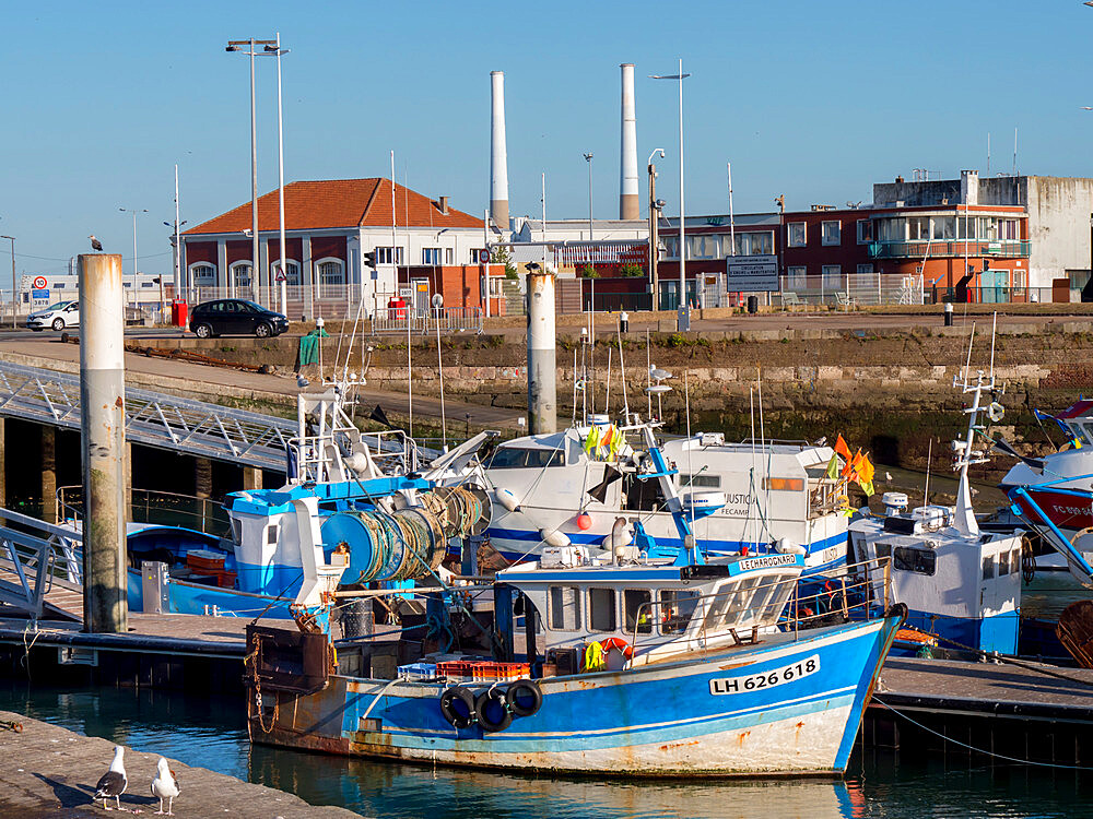 Port area of Le Havre showing fishing boats and iconic twin chimneys, Le Havre, Normandy, France, Europe - 367-6309