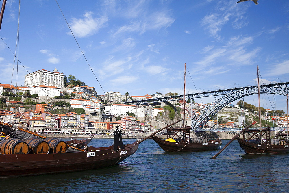 River Douro and port barges, Porto, Portugal, Europe