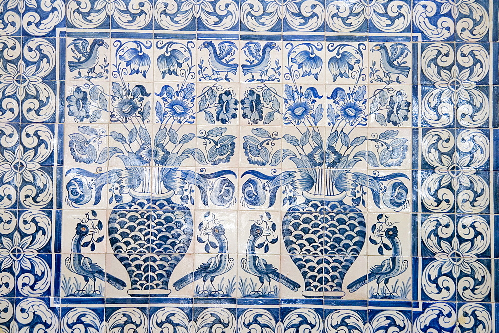 Medieval tilework Evora University, Evora, Alentejo, Portugal, Europe - 375-689