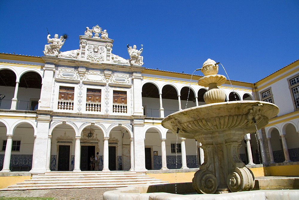 Evora University arcaded courtyard, Evora, Alentejo, Portugal, Europe - 375-692
