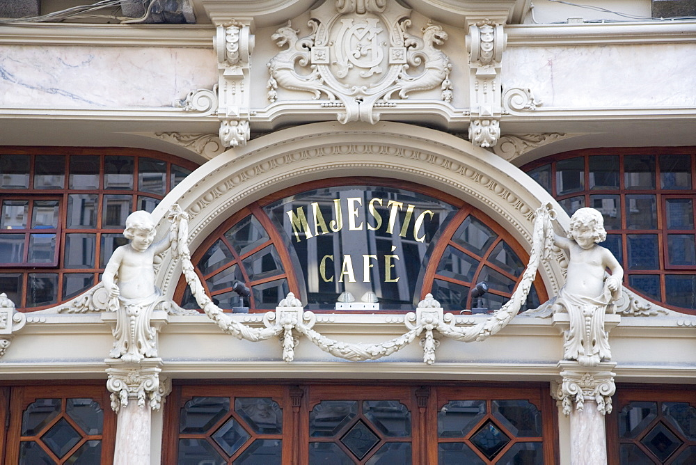 Entrance of the Belle Epoque (Art Nouveau) Cafe Majestic, Rua de Santa Catarina, Oporto, Portugal, Europe - 375-708
