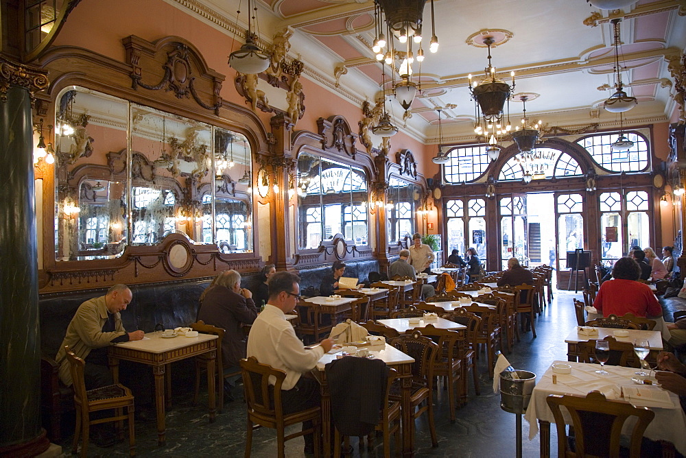 Interior benchwork of the Belle Epoque (Art Nouveau) Cafe Majestic, Rua de Santa Catarina, Oporto, Portugal, Europe - 375-714