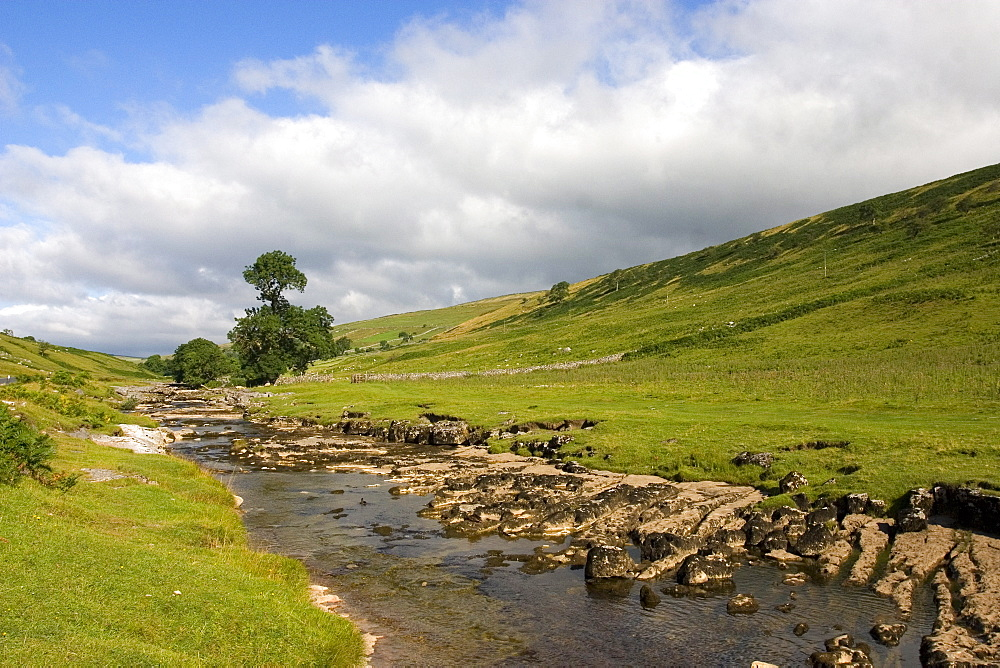 River Wharfe, Upper Wharfedale (Langstrothdale), near Hubberholme, Yorkshire Dales National Park, North Yorkshire, England, United Kingdom, Europe - 375-788