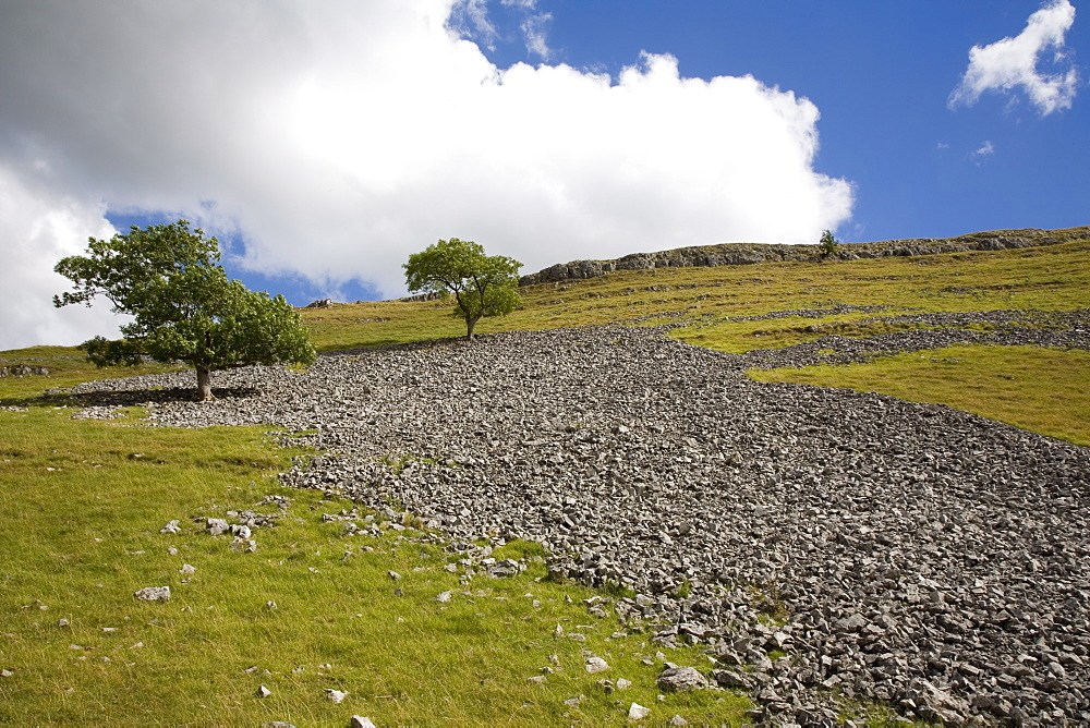 Scree slope and limestone vale, near Conistone, Yorkshire Dales National Park, North Yorkshire, England, United Kingdom, Europe - 375-796