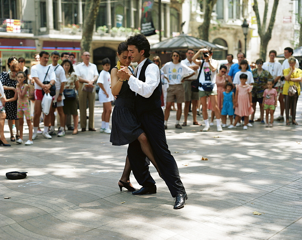 Dancing in the street, Barcelona, Catalonia, Spain, Europe