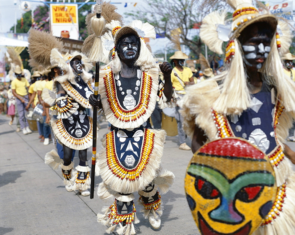 People in costume and facial paint, Ati Atihan festival, Kalibo, Philippines, Southeast Asia, Asia