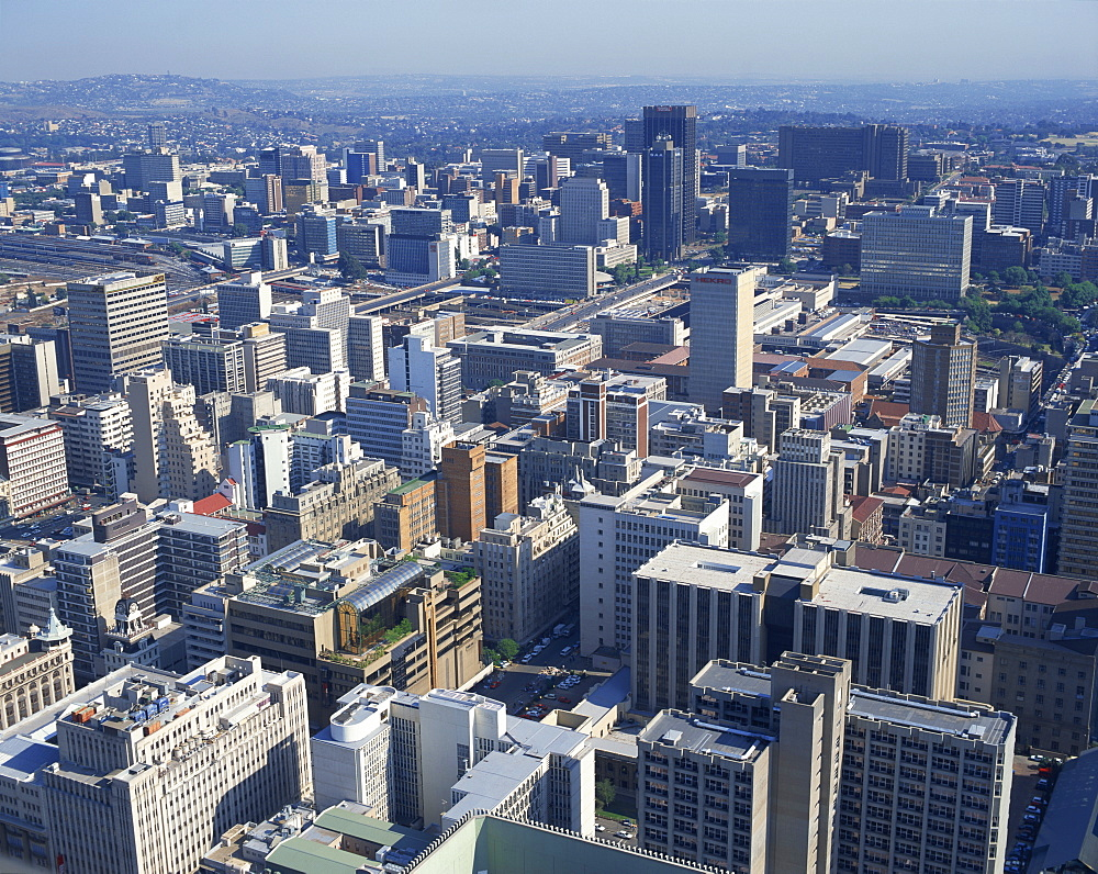 Aerial view over the Financial District, Johannesburg, Transvaal, South Africa, Africa