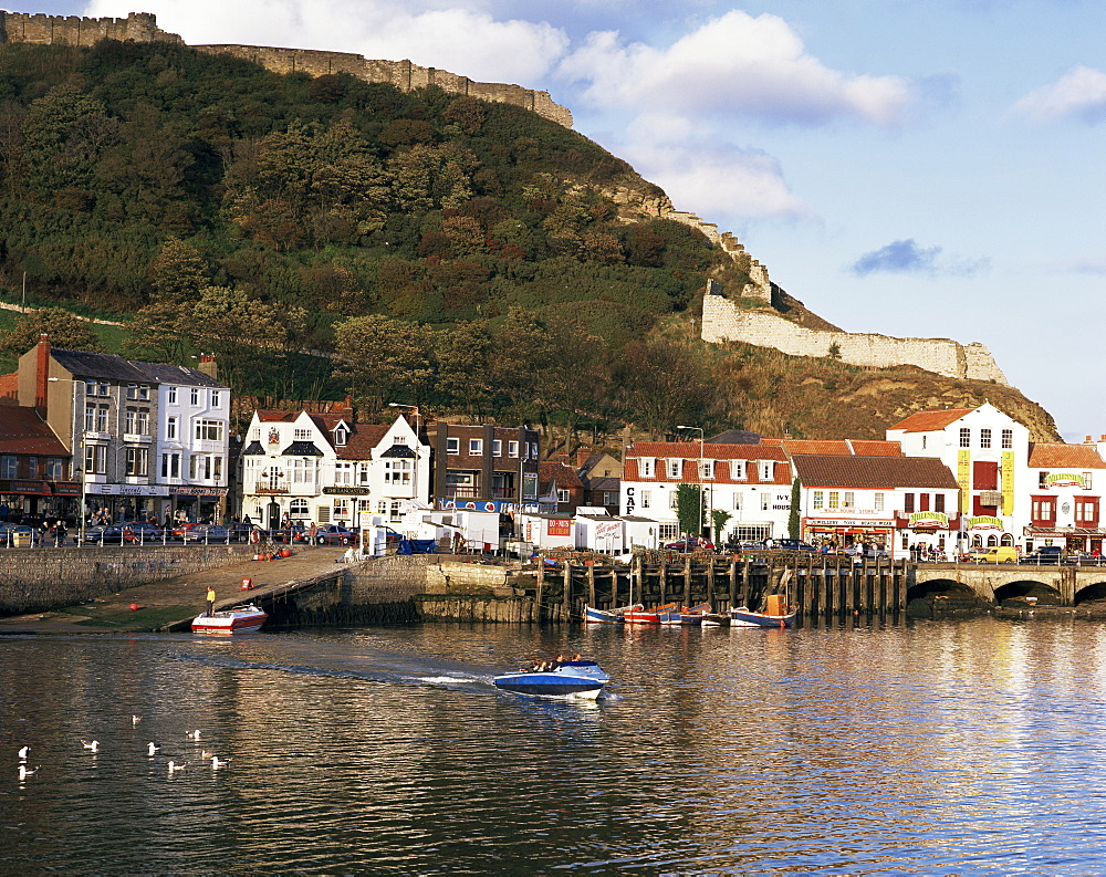 Harbour, with castle on hill above, Scarborough, Yorkshire, England, United Kingdom, Europe