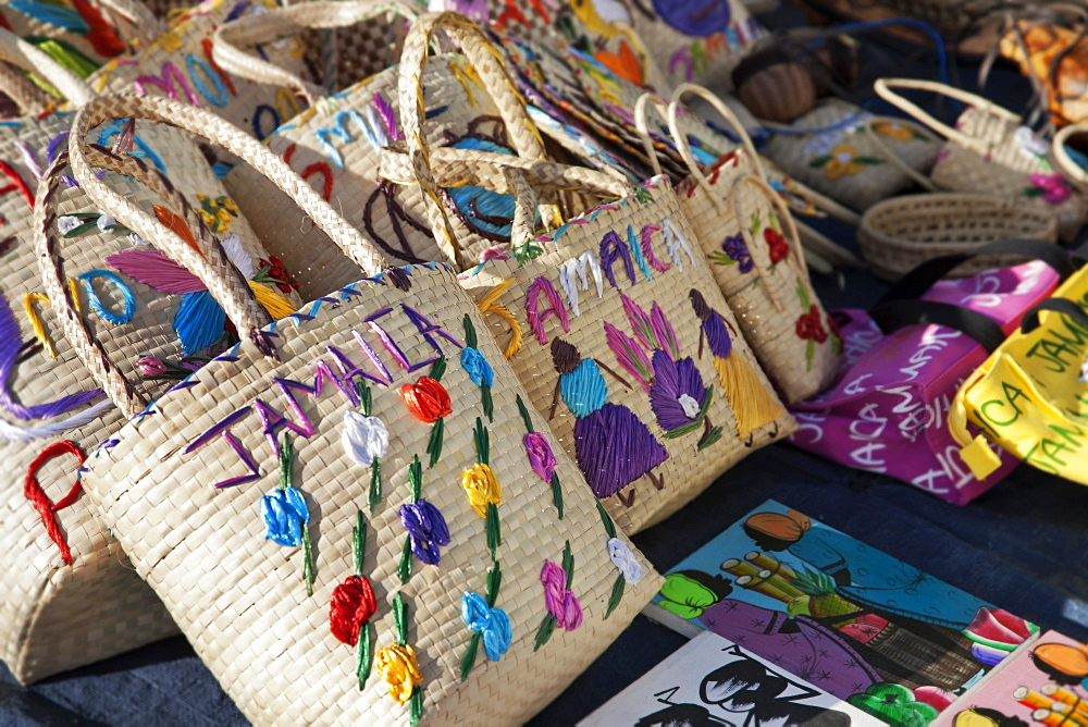 Display of souvenir bags for sale, Montego Bay, Jamaica, West Indies, Caribbean, Central America
