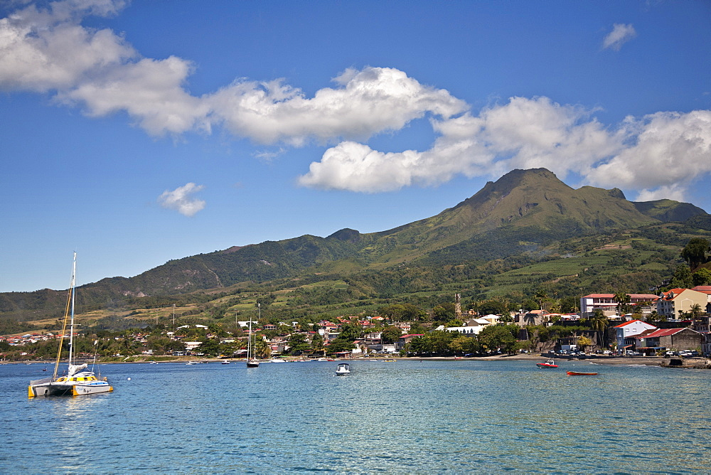View of Saint-Pierre showing Mount Pelee in background, Martinique, Lesser Antilles, West Indies, Caribbean, Central America