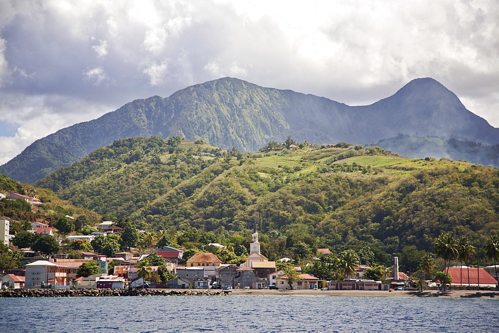 View of Saint-Pierre showing Mount Pelee in background, Fort-de-France, Martinique, Lesser Antilles, West Indies, Caribbean, Central America