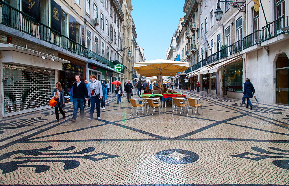 Shops and restaurants on Augusta Street, the main shopping street, Lisbon, Portugal, Europe