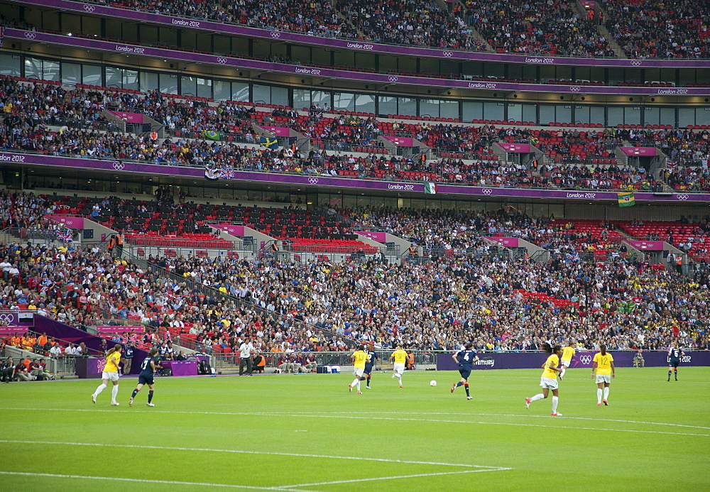 The 2012 Olympics Women's Football match between Great Britain and Brazil where Team GB beat Brazil 1-0, Wembley Stadium, London, England, United Kingdom, Europe - 377-3887