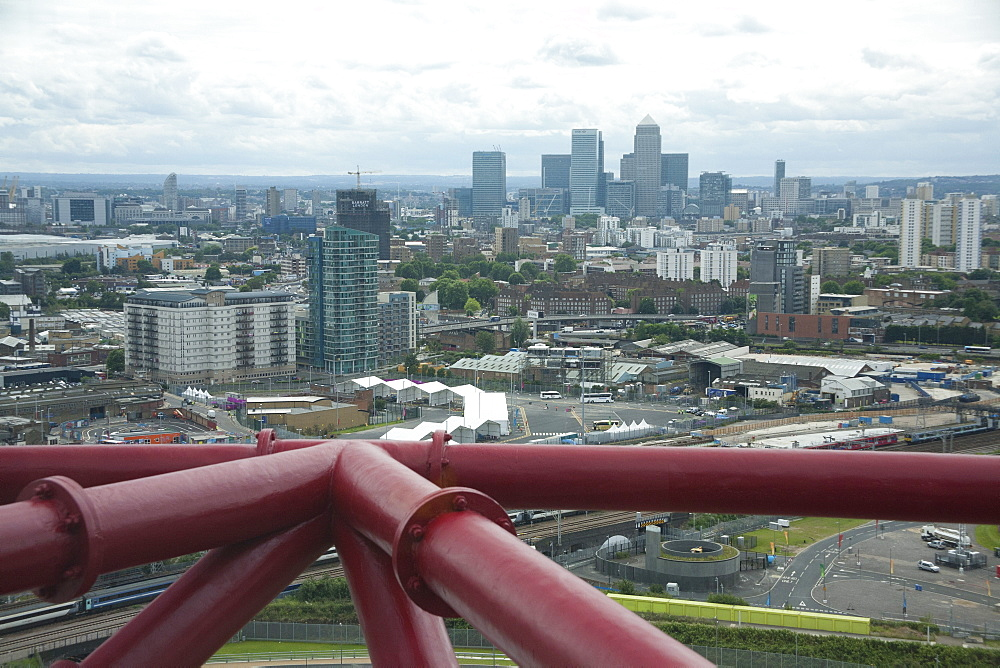 Aerial view of the Docklands from the Orbit showing Canary Wharf in the background, Stratford, London, England, United Kingdom, Europe - 377-3893