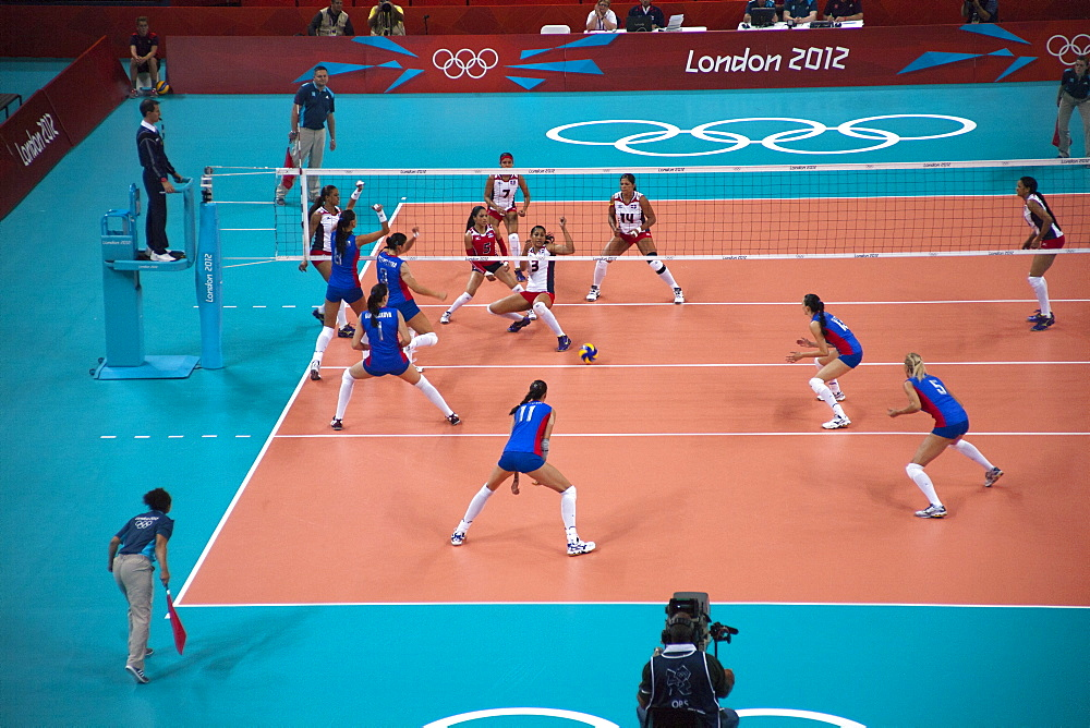 The 2012 Olympics Women's Volleyball match between Dominican Republic and Russia, Earl's Court, London, England, United Kingdom, Europe