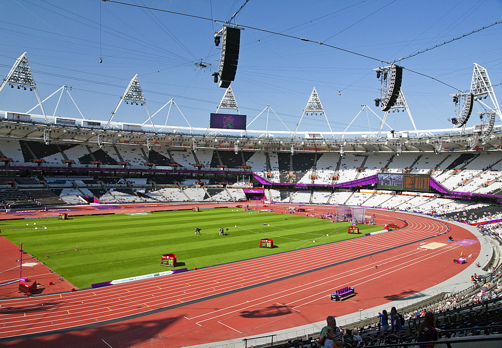 Wide-angle view of the Olympic Stadium showing cable-suspended camera system, Stratford, London, England, United Kingdom, Europe - 377-3905