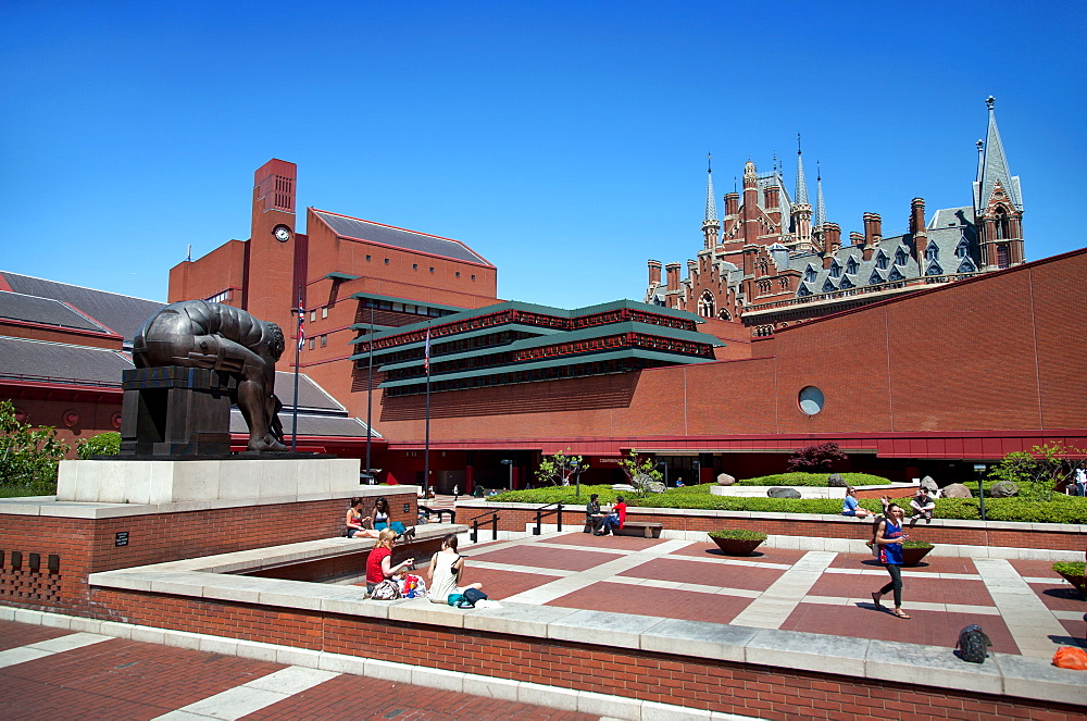 View of the British Library showing Eduardo Paolozzi's sculpture, Euston Road, London, England, United Kingdom, Europe - 377-3921