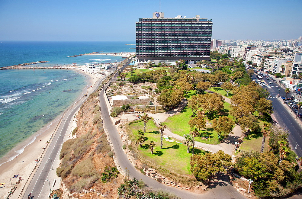 Hilton Hotel and Independence Park, Hayarkon Street, Tel Aviv, Israel, Middle East  - 377-3946