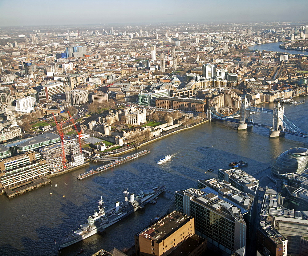 View from the Shard towards Tower Hill showing the River Thames, HMS Belfast, Tower Bridge and The Tower of London, London, England, United Kingdom, Europe - 377-3953
