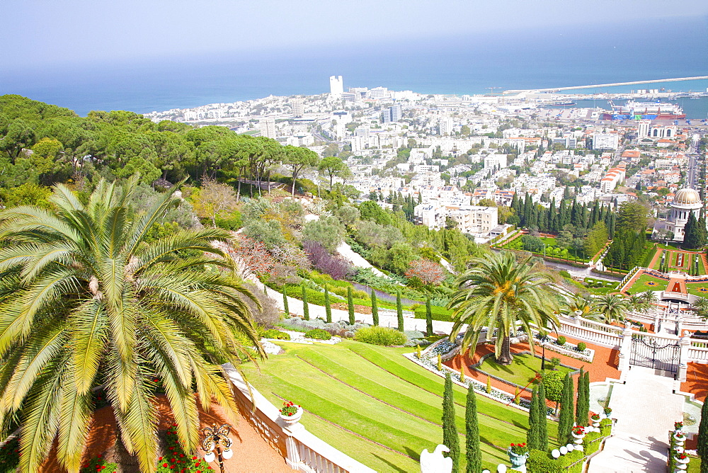 View of Haifa from the top of Mount Carmel showing the Port of Haifa, Haifa, Israel, Middle East - 377-3980