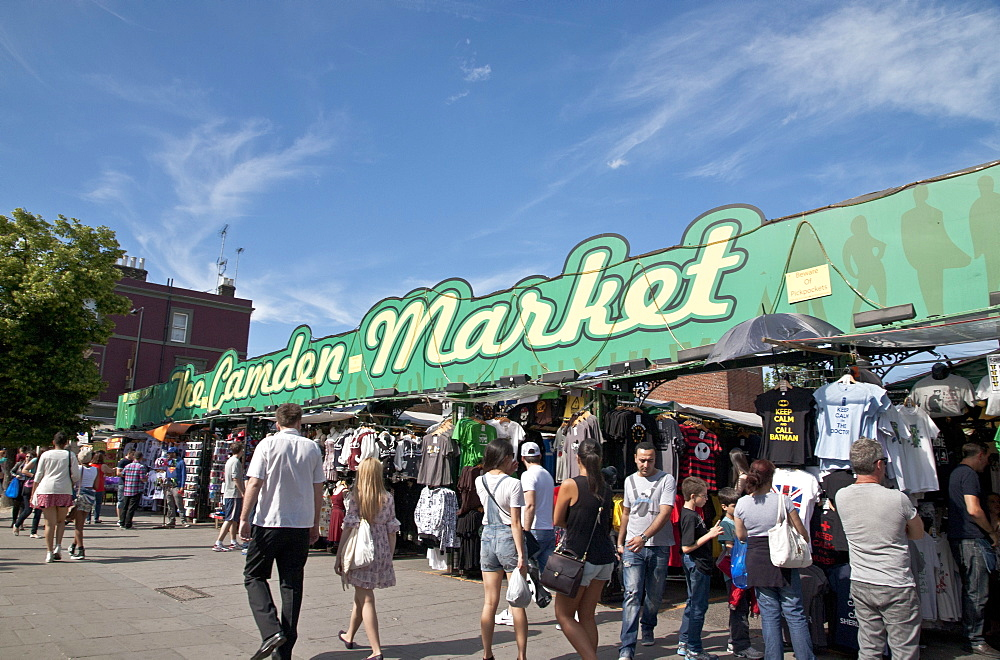 Tourists and shoppers at Camden Town Market, London, England, United Kingdom, Europe - 377-3992