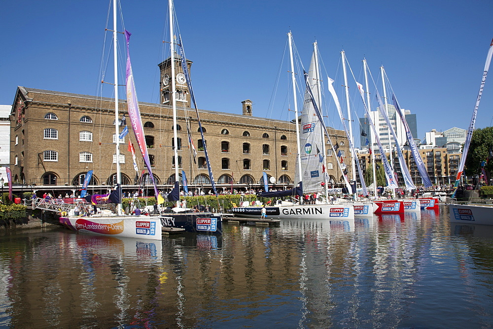 Clipper racing yachts docked at St. Katharine's Dock, London, England, United Kingdom, Europe - 377-3995