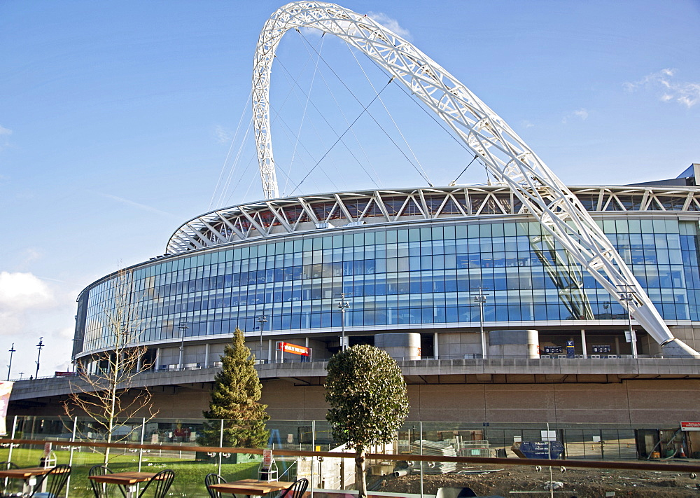 View of Wembley Stadium from the London Designer Outlet in Wembley Park, Brent, London, England, United Kingdom, Europe - 377-3998