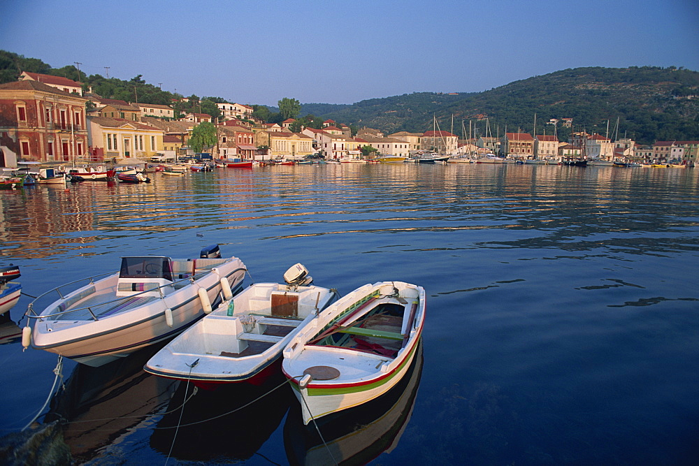 Small boats in the harbour at Gaios on Paxos, Ionian Islands, Greek Islands, Greece, Europe