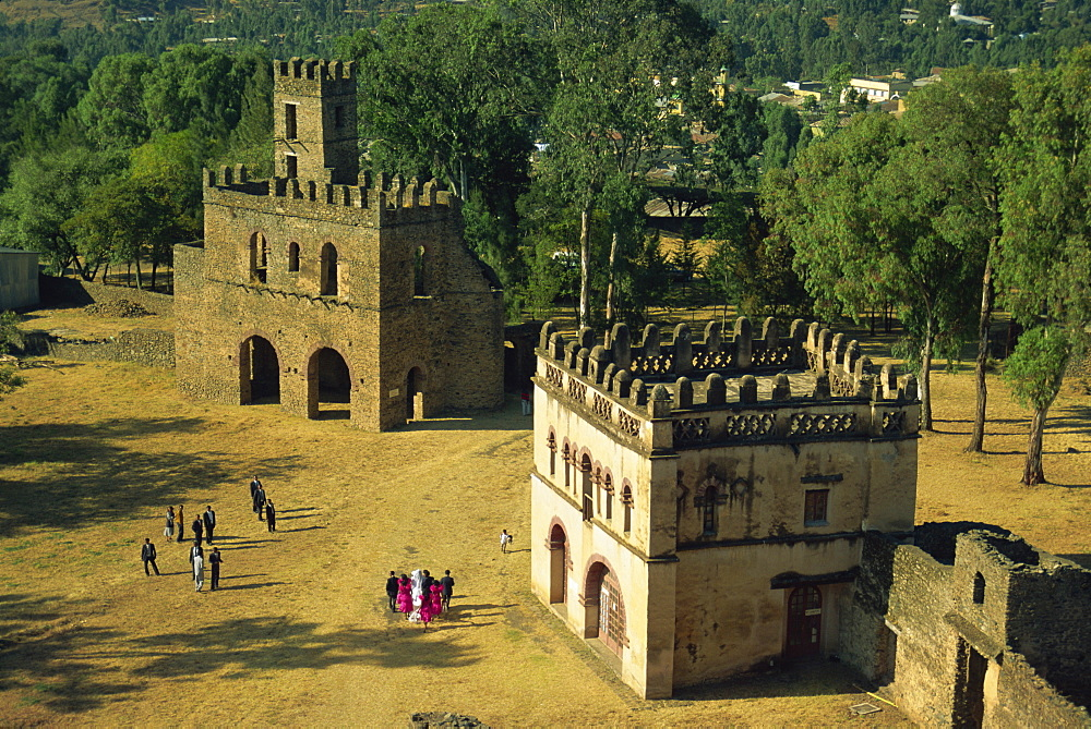 The Royal Enclosure, with wedding party, Gondar, Ethiopia, Africa - 382-692