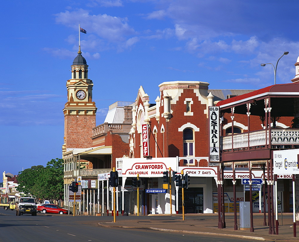 Street scene including clock tower in the outback gold mining town of Kalgoorlie in Western Australia, Australia, Pacific - 383-1265