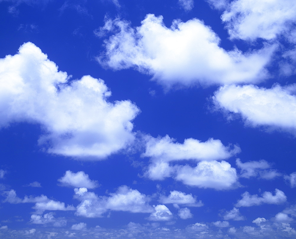 Blue sky with puffy white cumulus clouds near Taupo, New Zealand, Pacific - 383-1387