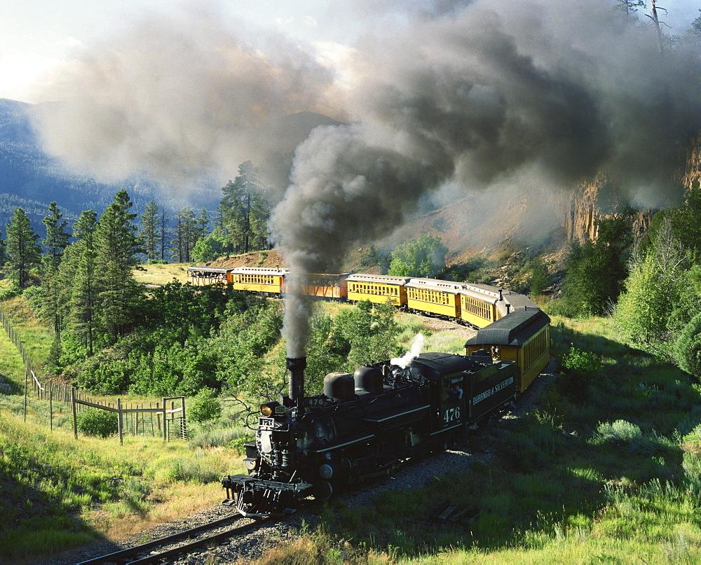Durango and Silverton vintage steam engine, Hermosa, Colorado, United States of America, North America - 383-589