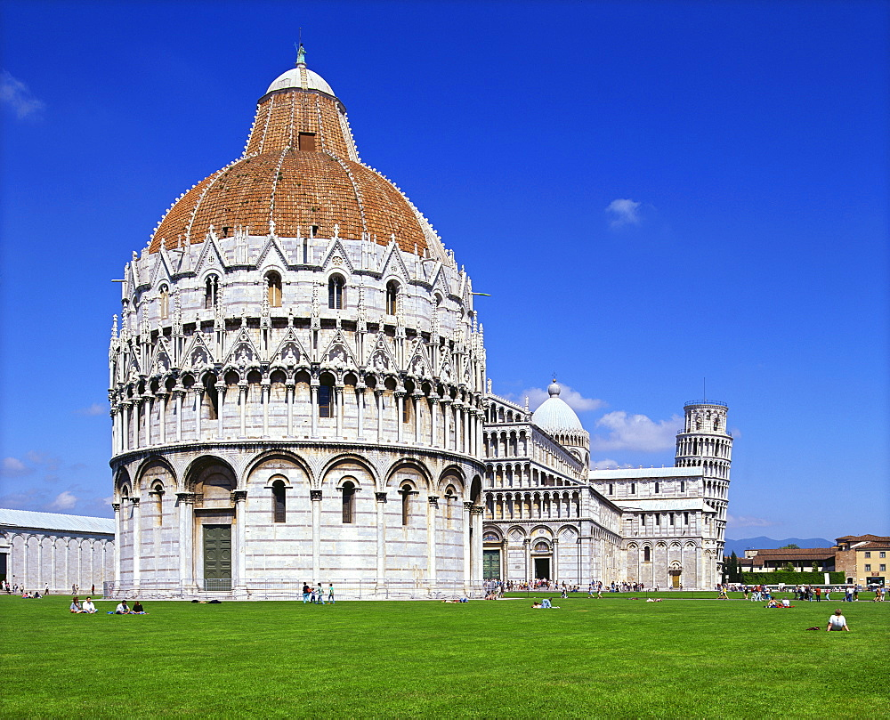 The Baptistery in the Piazza del Duomo in the city of Pisa, UNESCO World Heritage Site, Tuscany, Italy, Europe