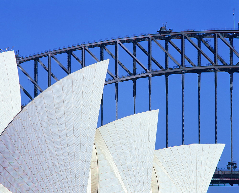 Detail of the Opera House and Harbour Bridge, Sydney, New South Wales, Australia, Pacific