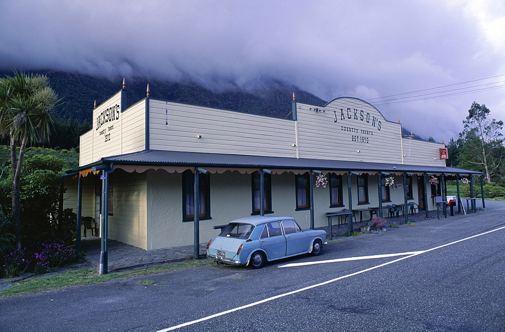 Jackson's backcountry bar and Austin car, South Island, New Zealand, Pacific