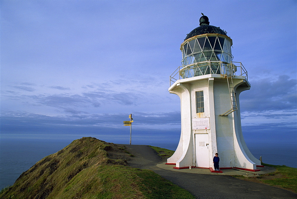 Lighthouse and sign at Cape Reinga, Northland, North Island, New Zealand, Pacific