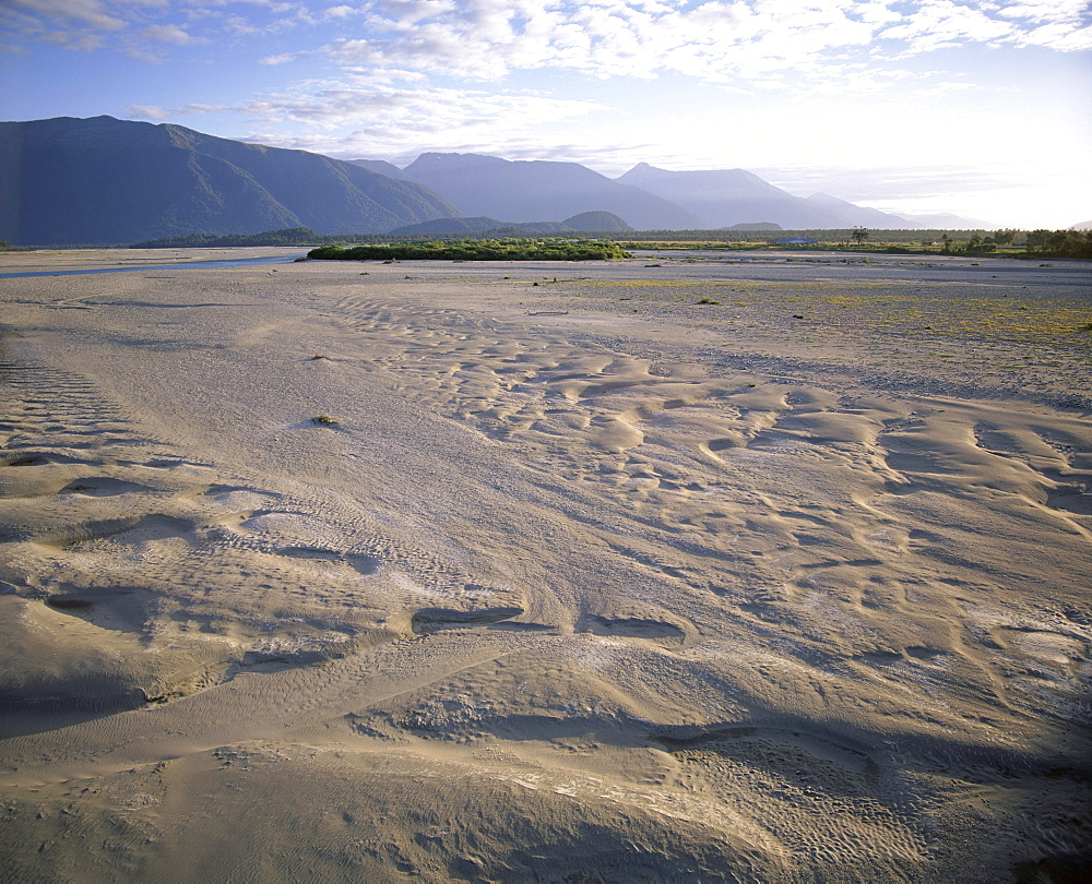 Flood plain with sand depressions, Haast River Valley, from road to Haast Pass, the start of the main divide, Haast, Westland, South Island, New Zealand, Pacific