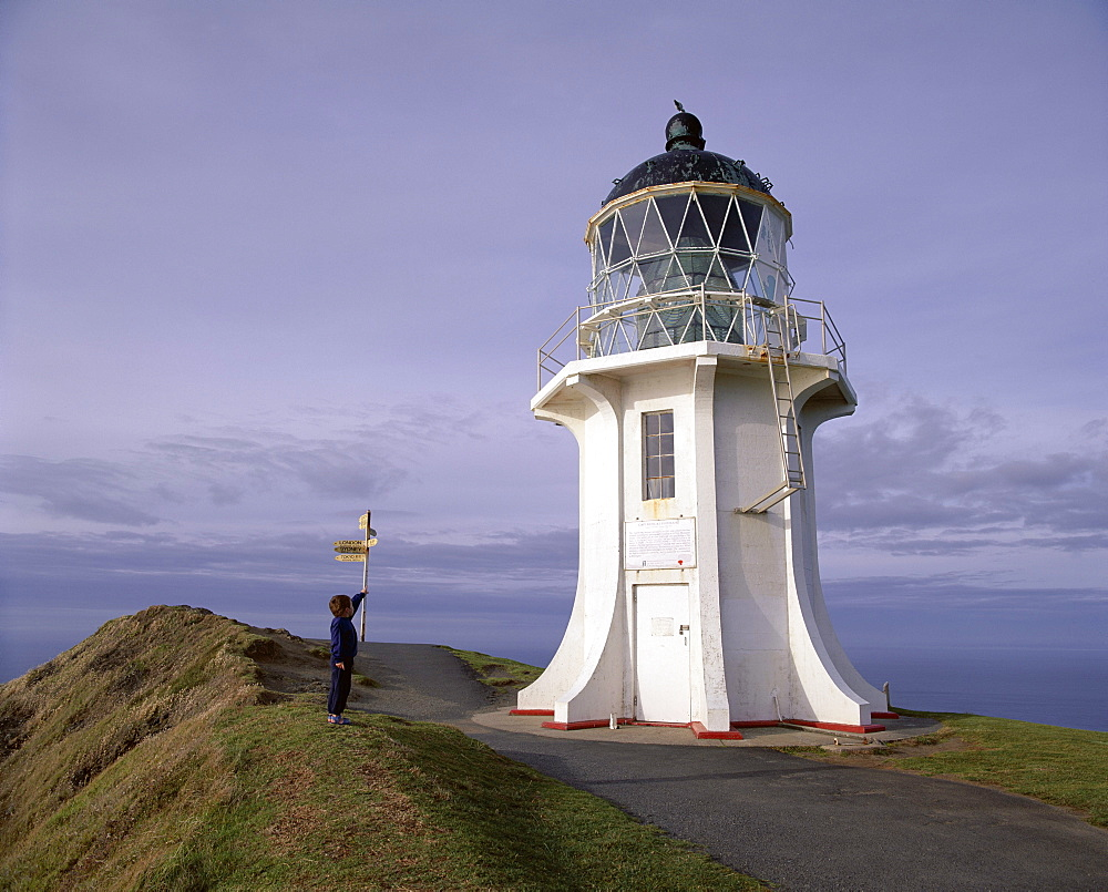 Exterior of the lighthouse, installed in 1941, moved from Cape Maria van Diemen, Cape Reinga, Northland, North Island, New Zealand, Pacific