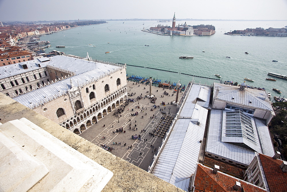 St. Marks Square looking over the Lido di Venezia to Isola di San Giorgio Maggiore, from Campanile, Venice, UNESCO World Heritage Site, Veneto, Italy, Europe - 385-1673