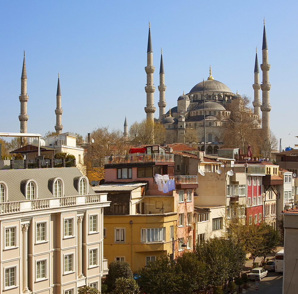Roof-top hotel cafes overlooked by the Blue Mosque, Istanbul, Turkey, Europe - 385-1682