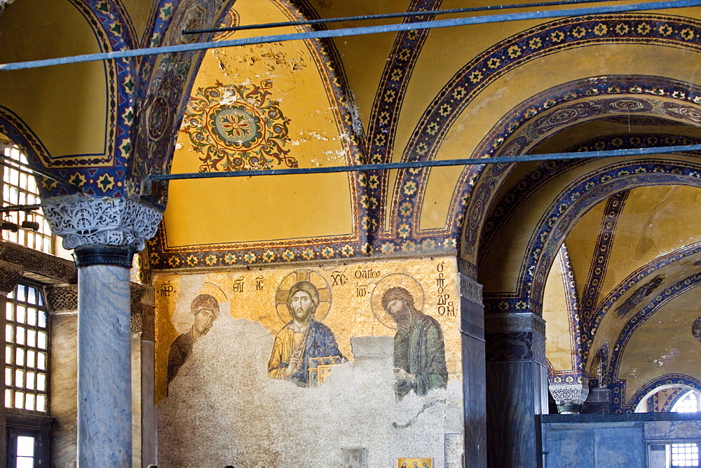 The Deesis Mosaic, depicting Christ Pantrocrator flanked by the Virgin Mary and St. John the Baptist, dating from the Restoration of Constantinople in 1261 at the end of Crusader occupation, Aya Sofya (Hagia Sophia), UNESCO World Heritage Site, Istanbul, Turkey, Europe - 385-1695