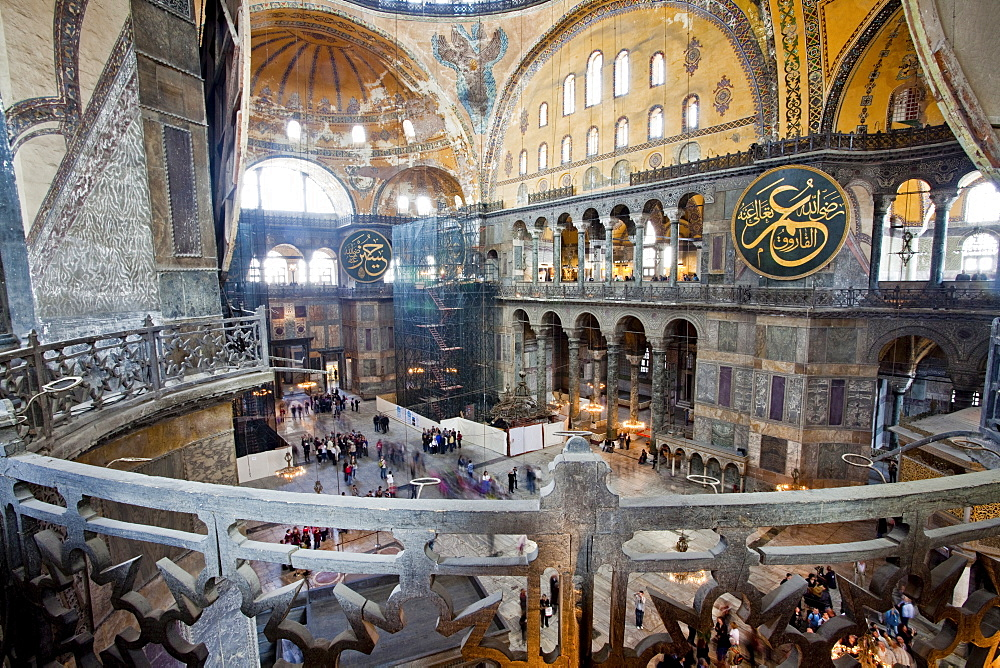 Byzantine architecture of Aya Sofya (Hagia Sophia), constructed as a church in the 6th century by Emperor Justinian, a mosque for years, now a museum, UNESCO World Heritage Site, Istanbul, Turkey, Europe - 385-1697