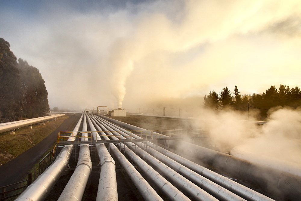 Steam rising off hot geothermal pipes at dawn, Wairakei Steam Field, Taupo, North Island, New Zealand, Pacific - 385-1710