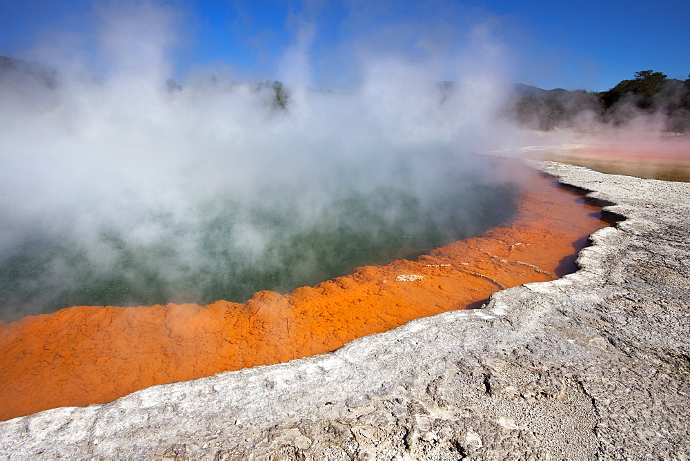 Champagne Pool, hot springs, Waiotapu Goethermal Wonderland, Rotorua, New Zealand, Oceania