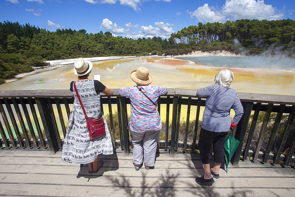 Tourists at the Champagne Pool, hot springs, Waiotapu Goethermal Wonderland, Rotorua, New Zealand, Oceania - 385-1722