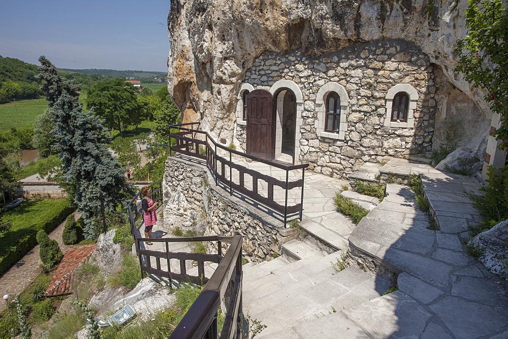 Rock Monastery St. Dimitar Basarbovski dating from the 12th century, UNESCO World Heritage Site, Ivanavo, Bulgaria, Europe - 385-1735