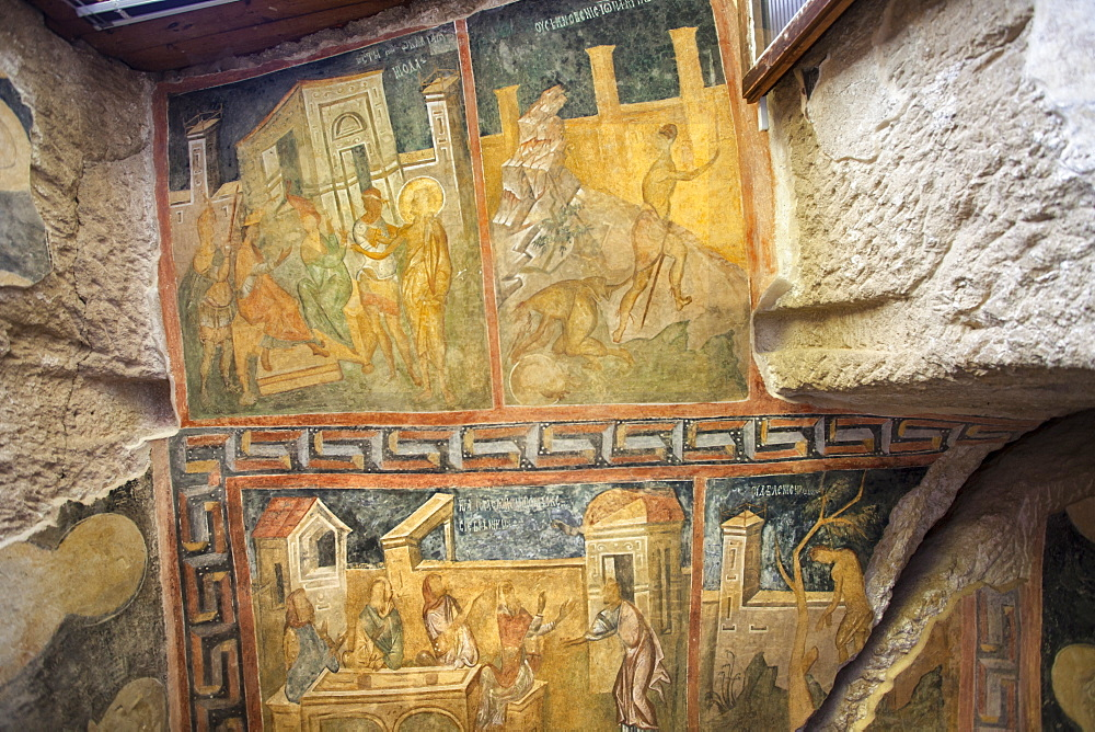 UNESCO Rock Church 'The Holy Mother' 14th century Palaeologian style Medieval Christian Art. Panels depict scenes from gospels - 385-1736