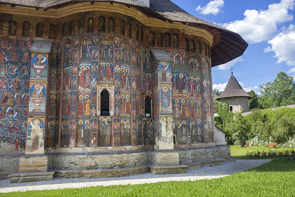 Saxon painted Church, Moldovitsa Monastery, founded 1532, Christian Orthodox, UNESCO World Heritage Site, Moldovitsa, Bukovina, Romania, Europe